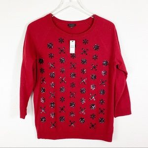 Talbots Sequin Snowflake Sweater size Large
